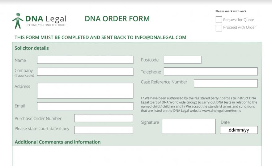 DNA Order form